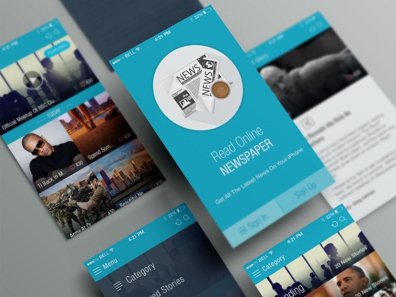 Online News Paper iOS APP UI Free PSD