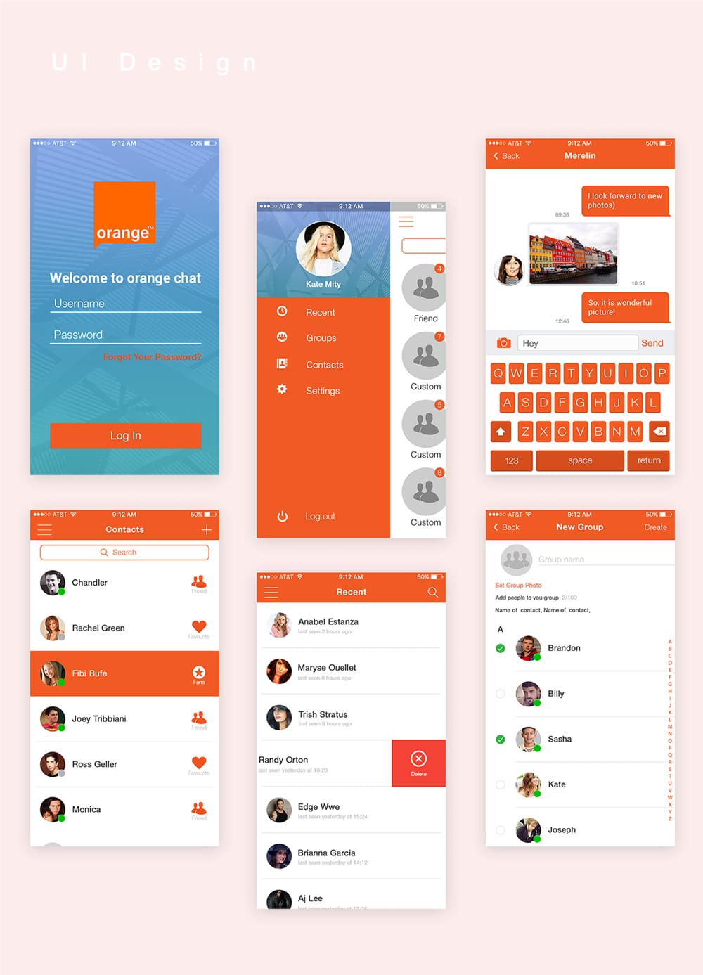 Orange Chat Free Mobile App UI PSD