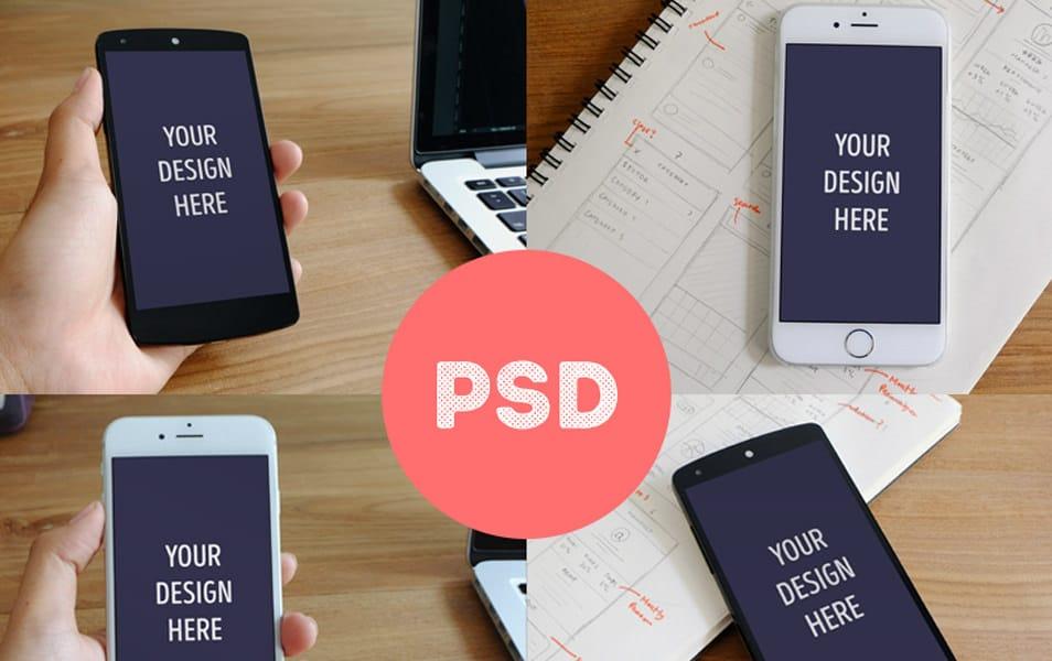 Photorealistic iPhone 6 & Nexus 5 mockups