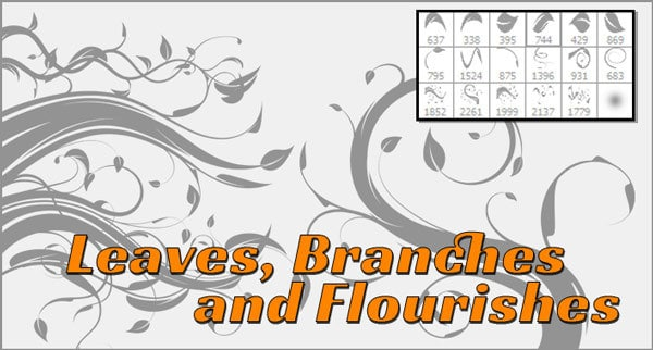 Photoshop Flourish, Leaves and Vines Free Brushes