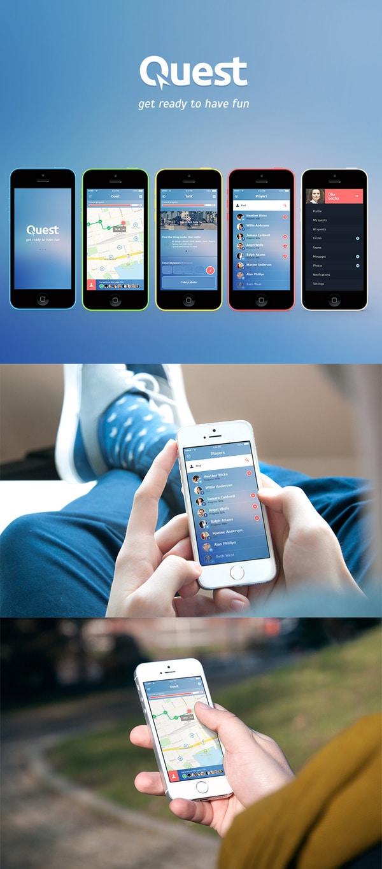Quest - Free iOS7 Mobile App UI PSD