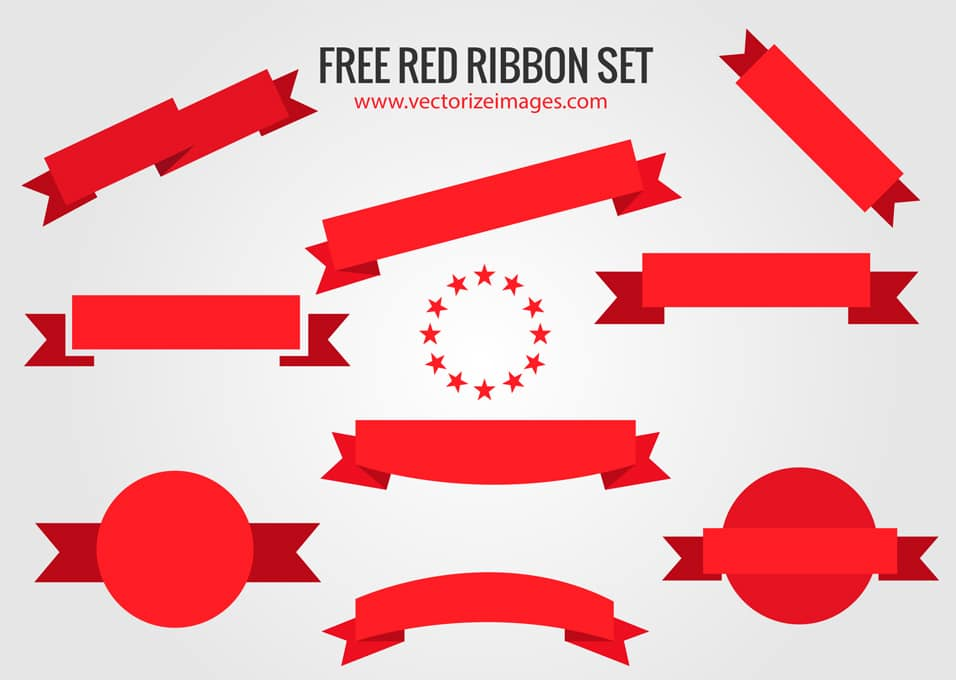 Red Ribbons Vector Pack