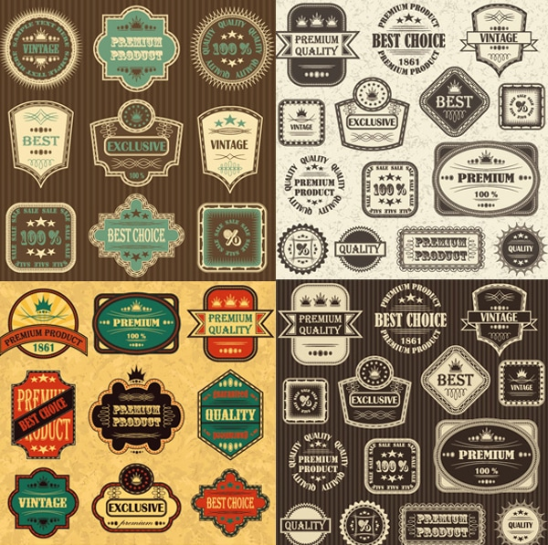Retro Label Label Vector