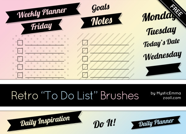 Retro to do List Brushes