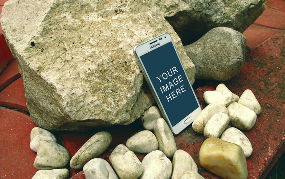 Samsung Galaxy Alpha Stone Mockup