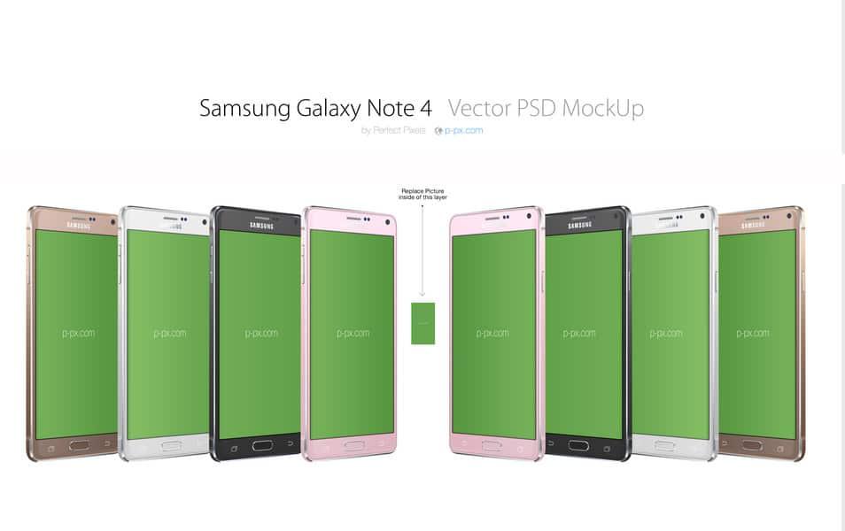Samsung Galaxy Note 4 3/4 PSD MockUp