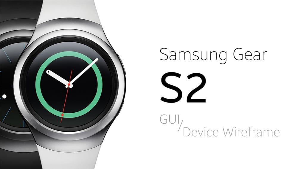 Samsung Gear S2 GUI & Device Wireframe PSD