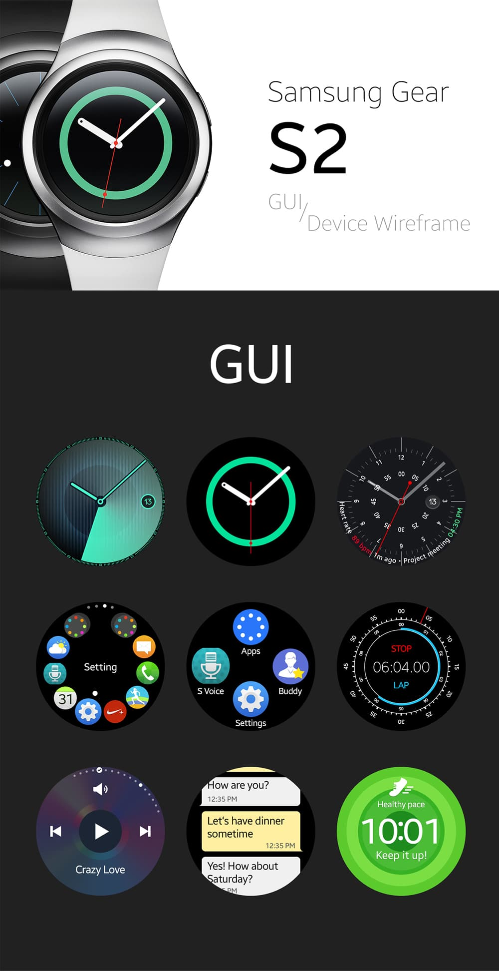 Samsung Gear S2 GUI and Device Wireframe PSD
