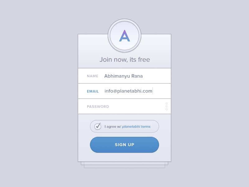 Signup Widget PSD