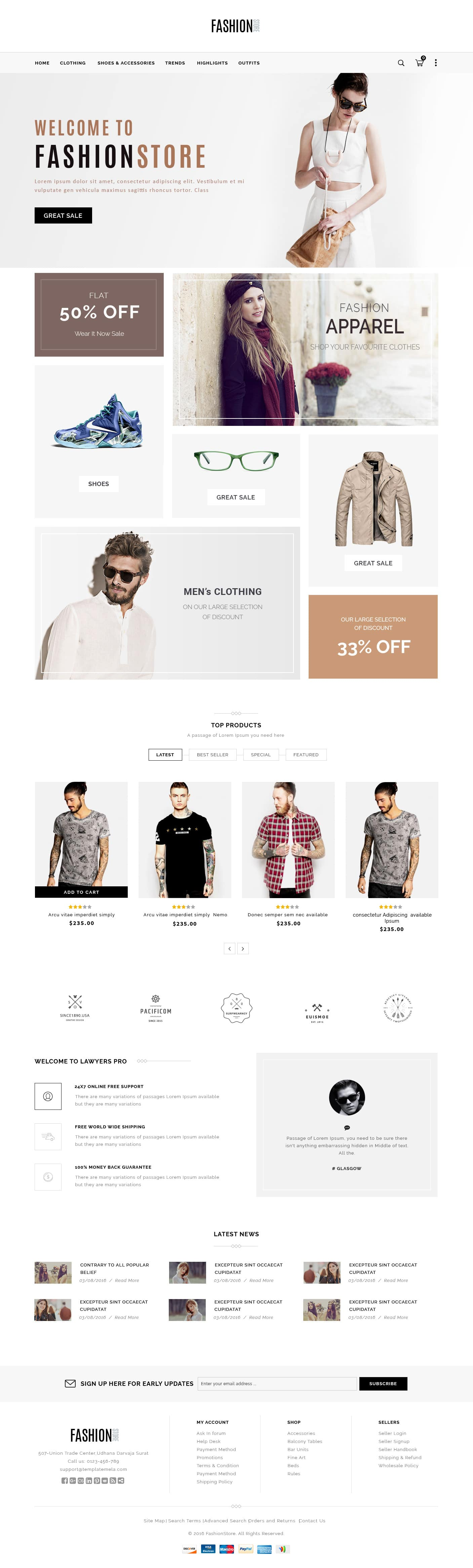 Simple E commerce Web Template PSD
