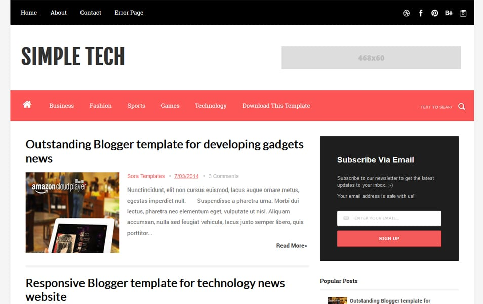 Simple Tech Responsive Blogger Template