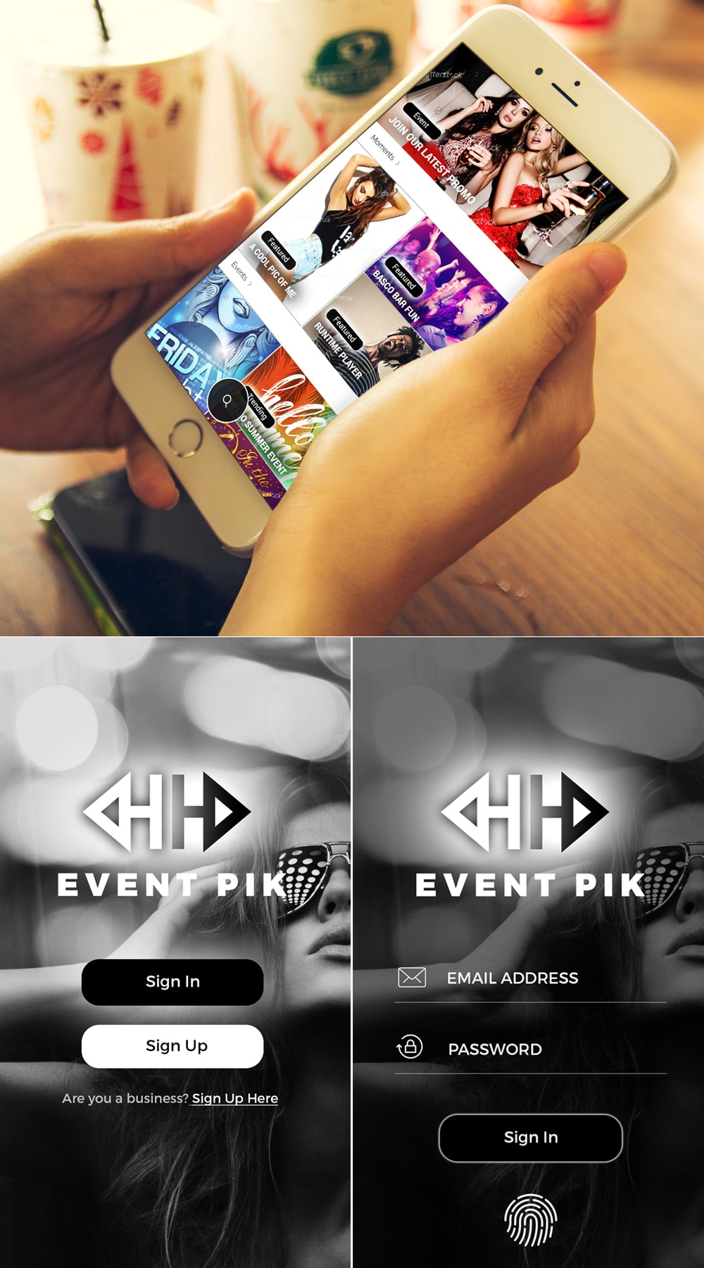 Social Events App UI PSD