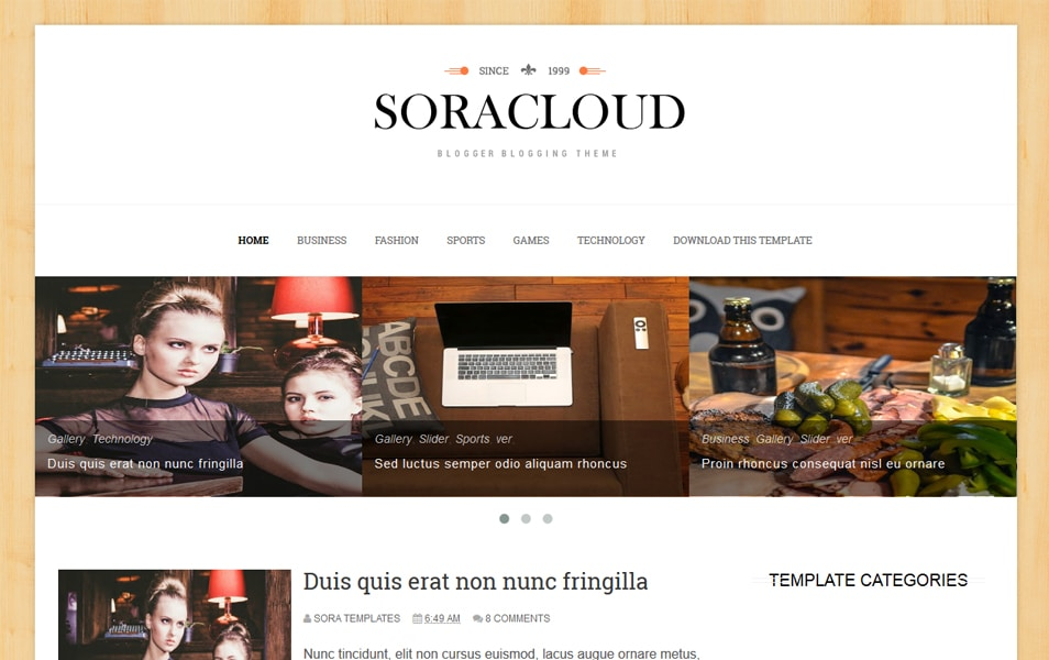 Sora Cloud Responsive Blogger Template