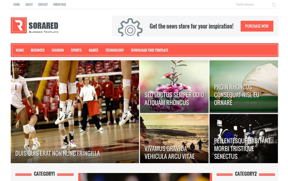 Sora Red Responsive Magazine Blogger Template