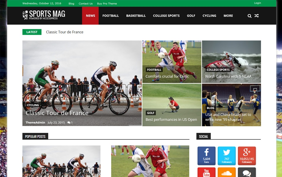 SportsMag Responsive WordPress Theme