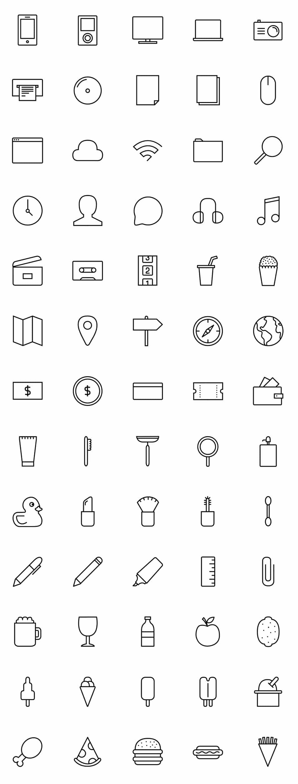 Stripes & Co – A Line-Styled Icon Set (65 Icons)