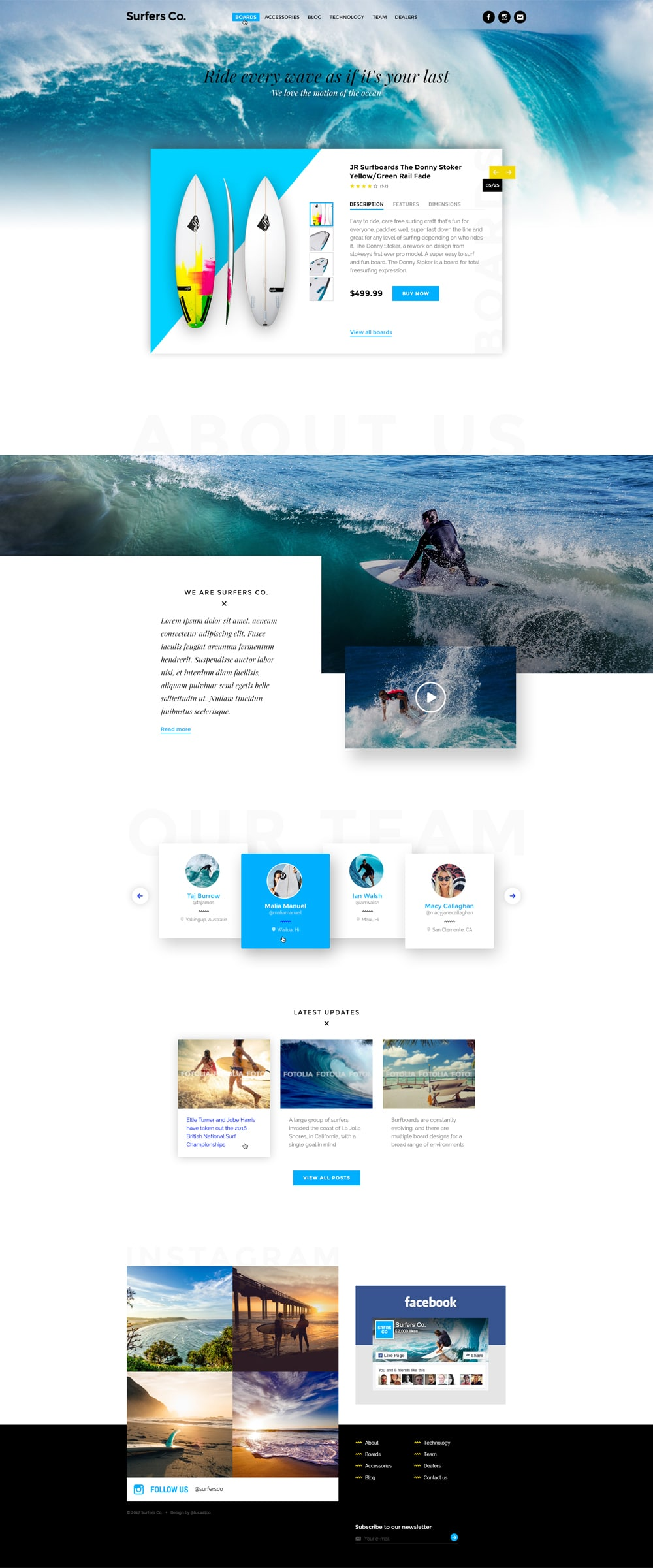 Surfers Co Web Template PSD for Surf Shop