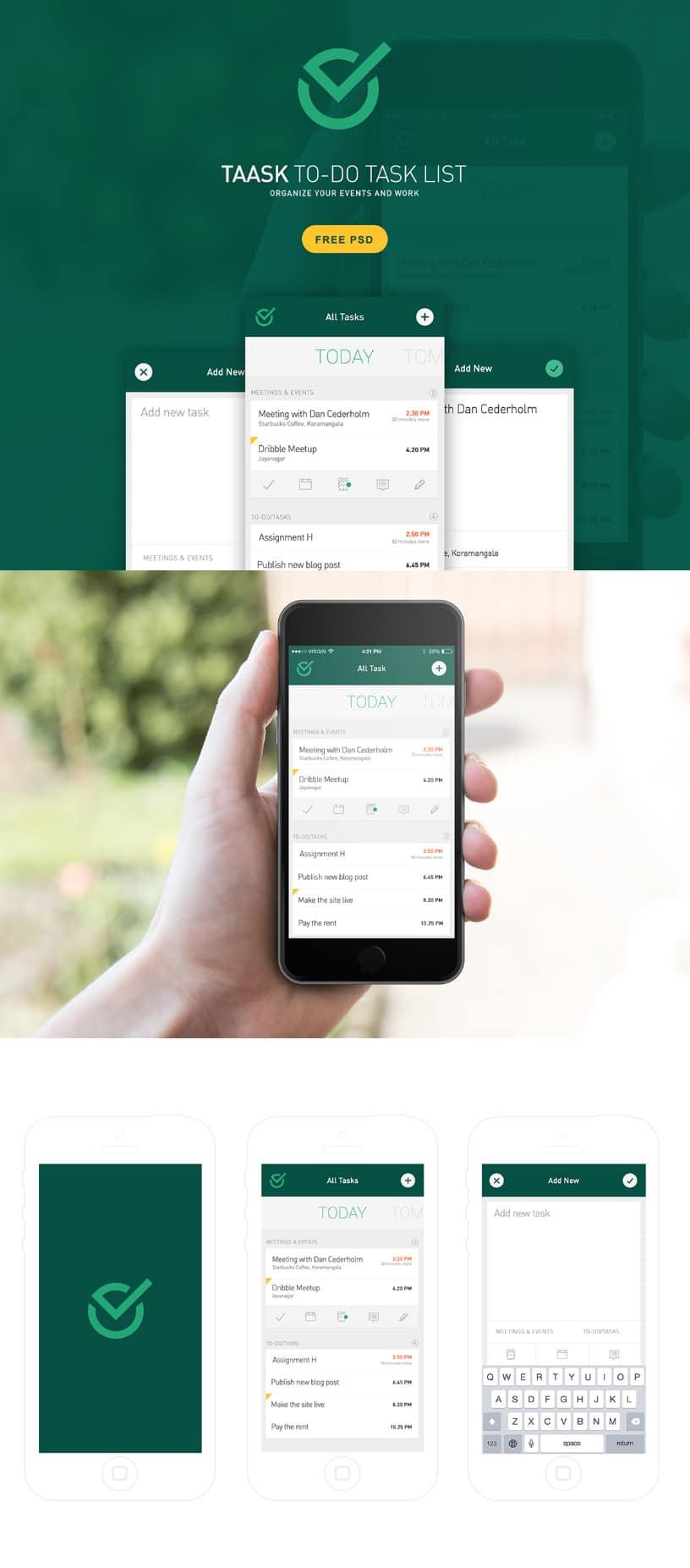 Taask Mobile App PSD