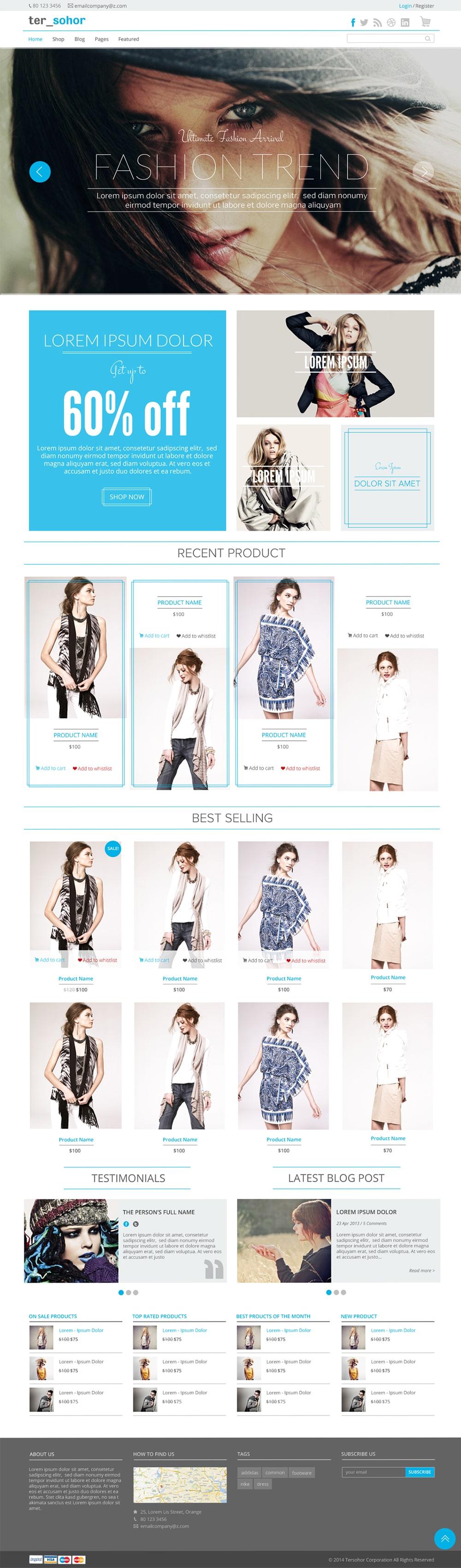 Tersohor - E-commerce Template Free PSD
