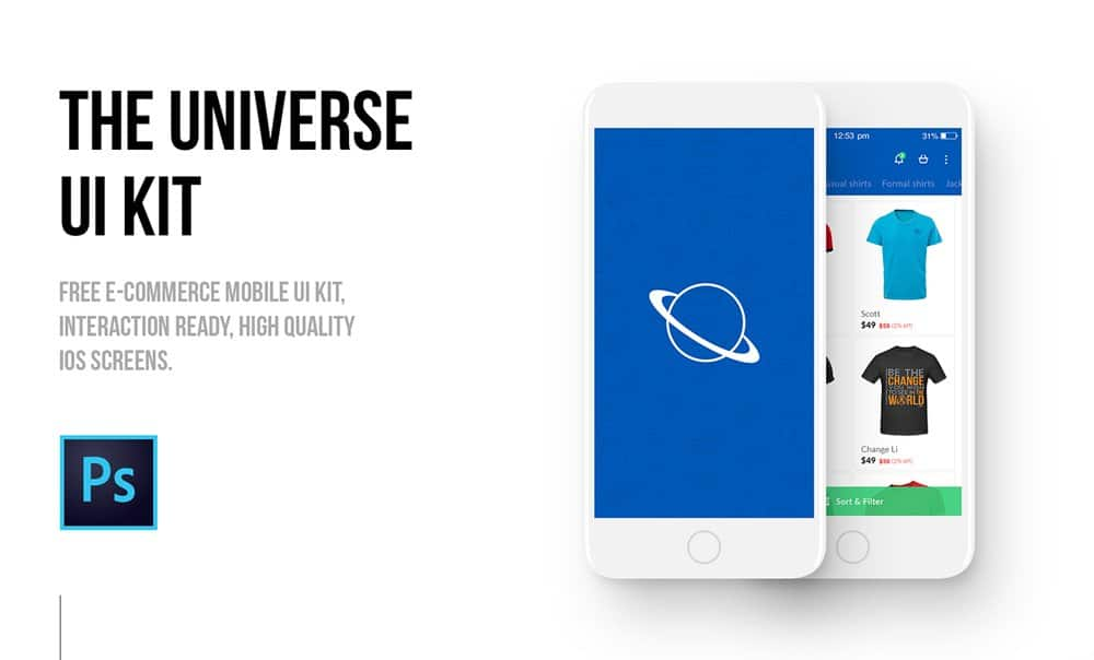 The Universe E commerce Mobile UI kit PSD
