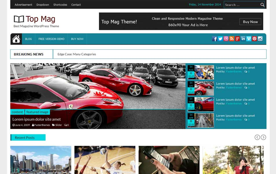 Top Mag Free Magazine WordPress Theme