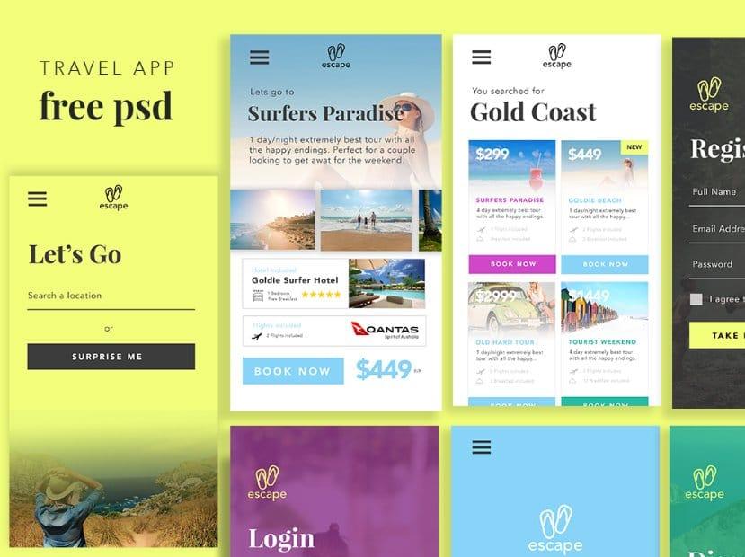 Travel App UI PSD