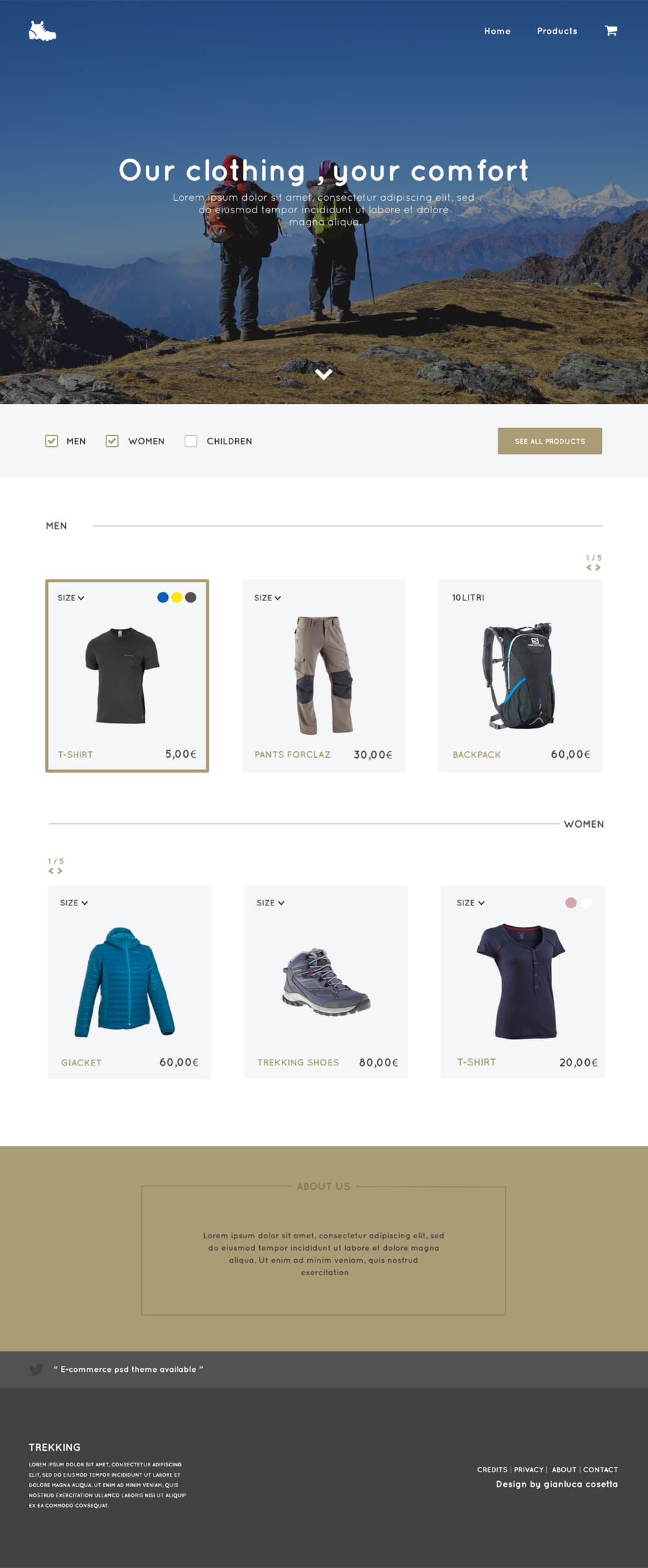 Trekking Store - Free E Commerce Web Template PSD