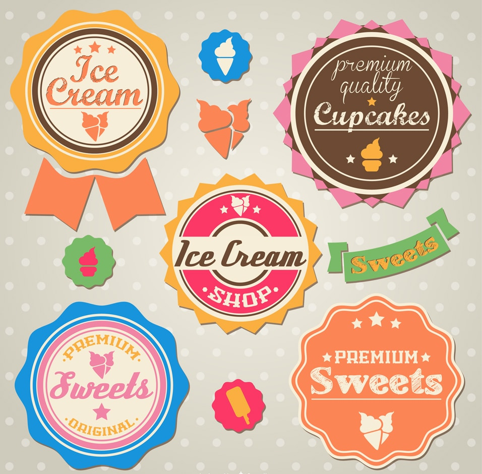 Vintage stickers for Sweet Treats