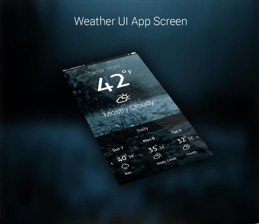 Latest free mobile app ui psd designs css author weather app ui psd biocorpaavc Image collections