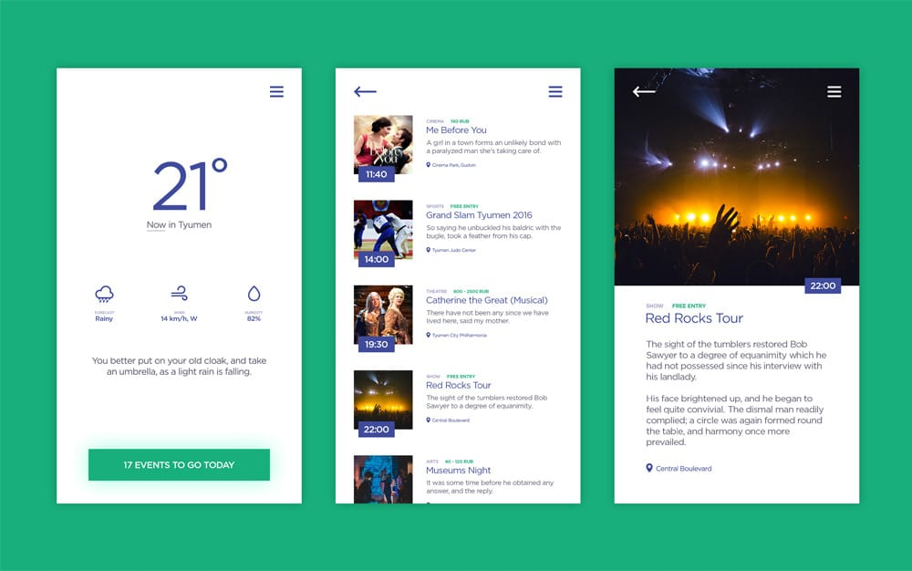 Weather and Events App UI PSD
