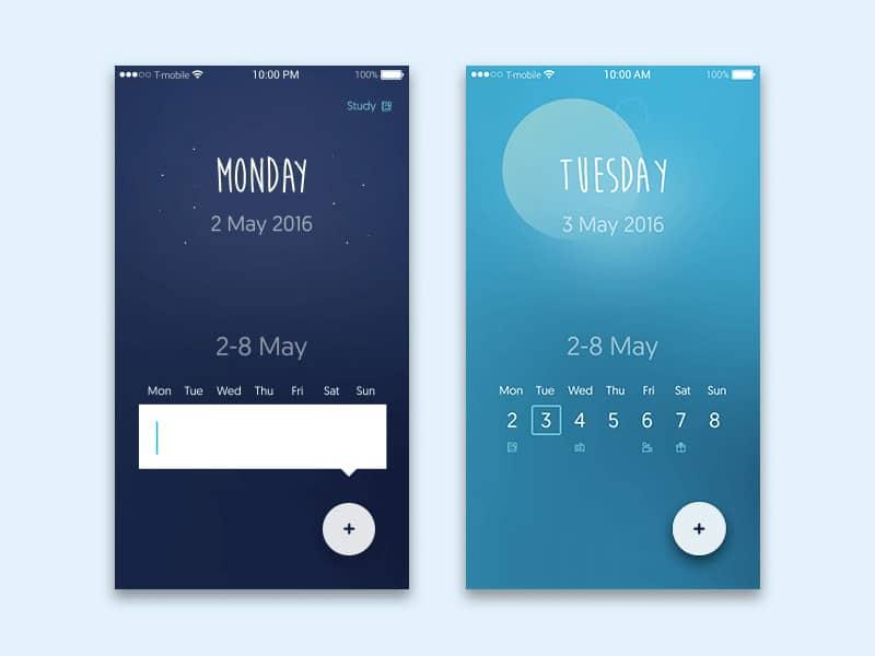 Calendar App Ui : Latest free mobile app ui psd designs css author