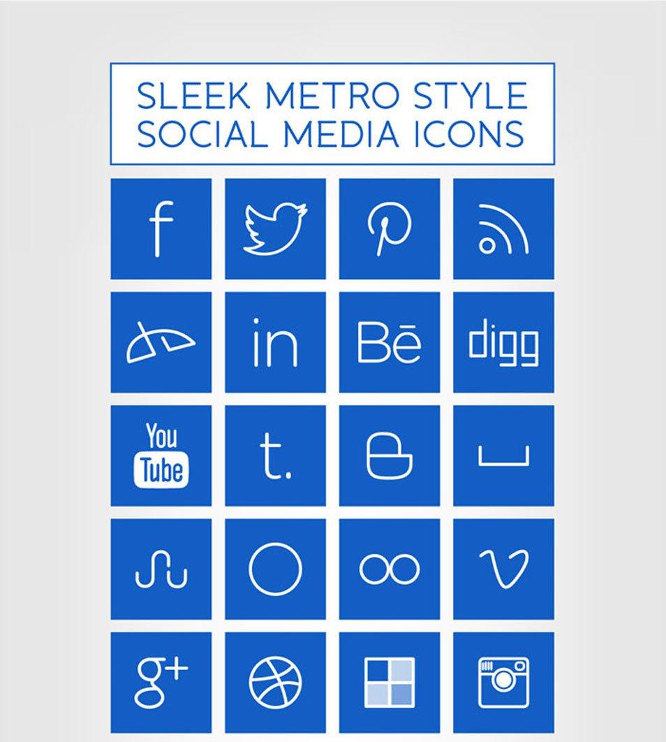 Windows 8 Metro Style Sleek Social Media
