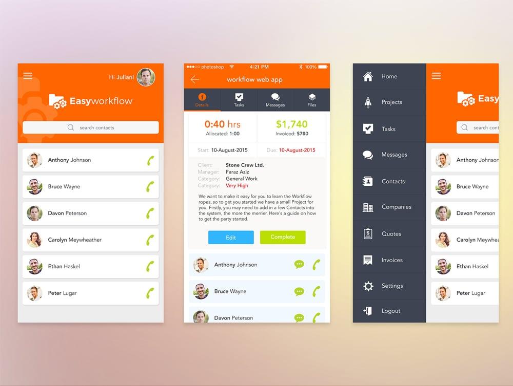 Workflow UI PSD