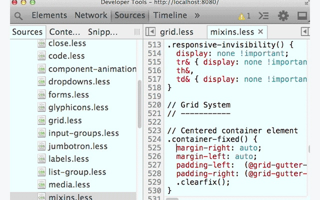 Working With LESS and the Chrome DevTools
