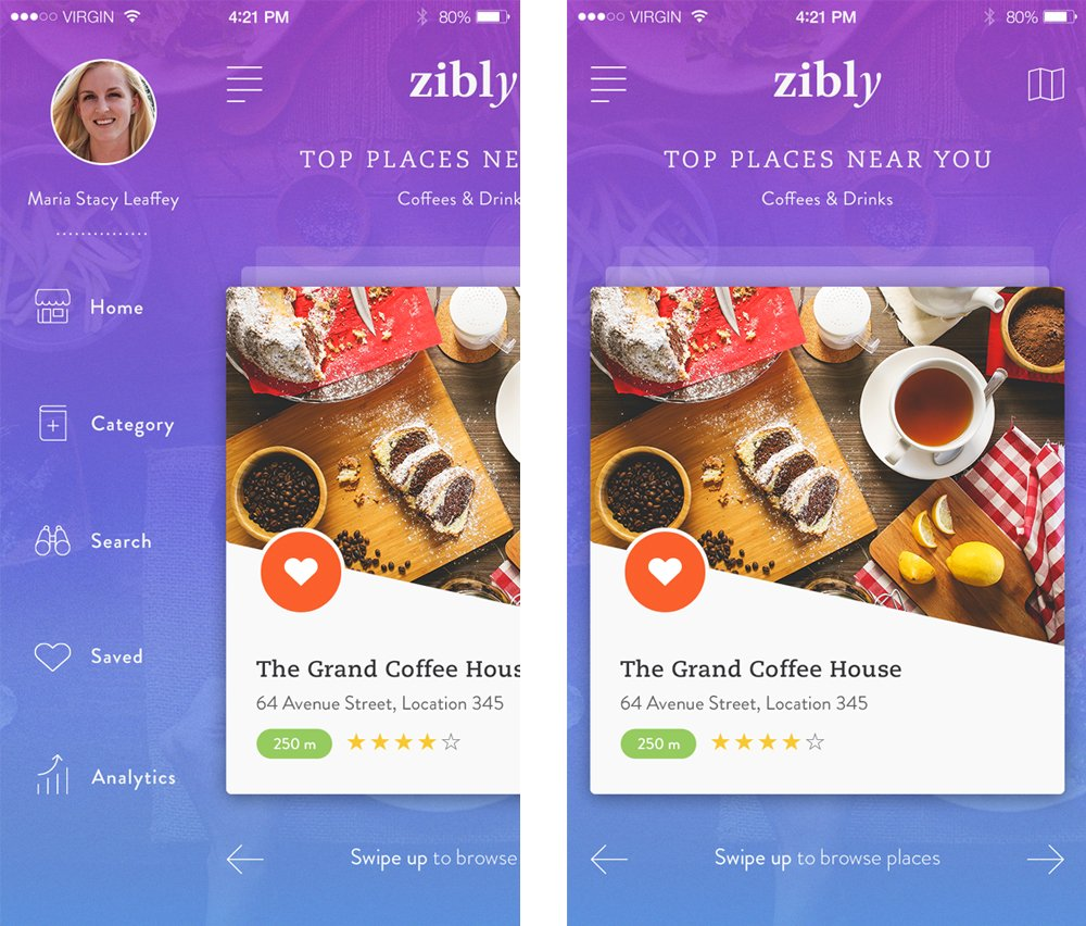 Zibly - Food Discovery App UI PSD