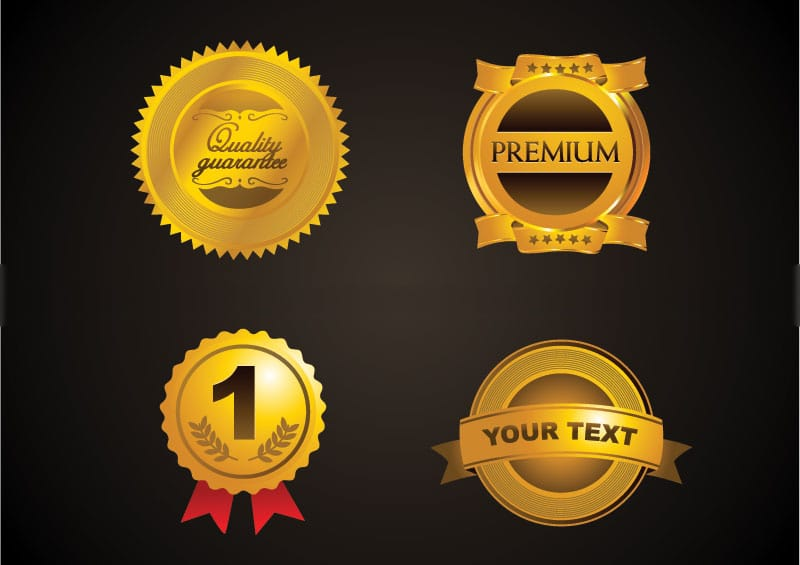 free golden badges vector