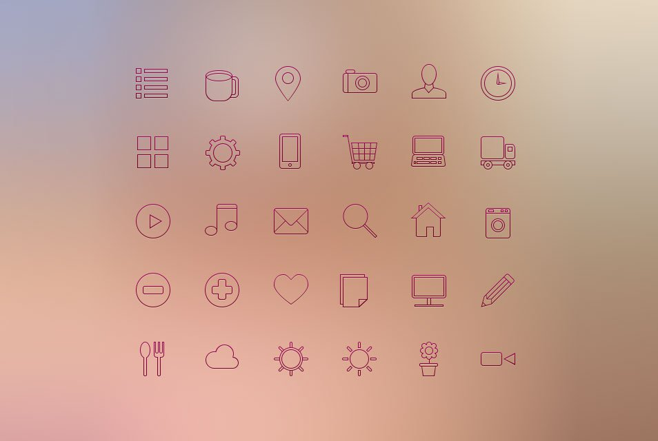 iOS 7 Line Icon Set