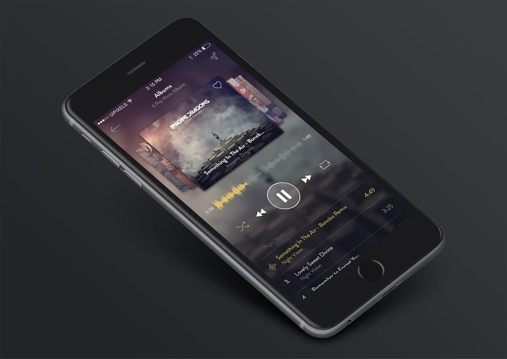 iPhone 6 Music App Design PSD