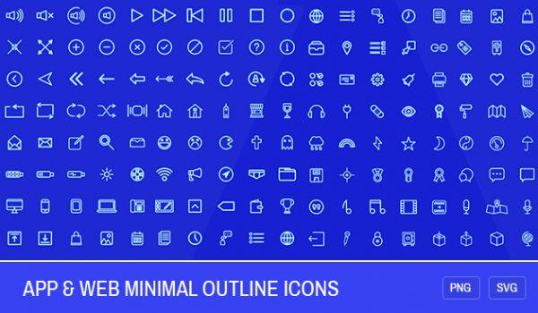 200 App & Web Minimal Outline Icons