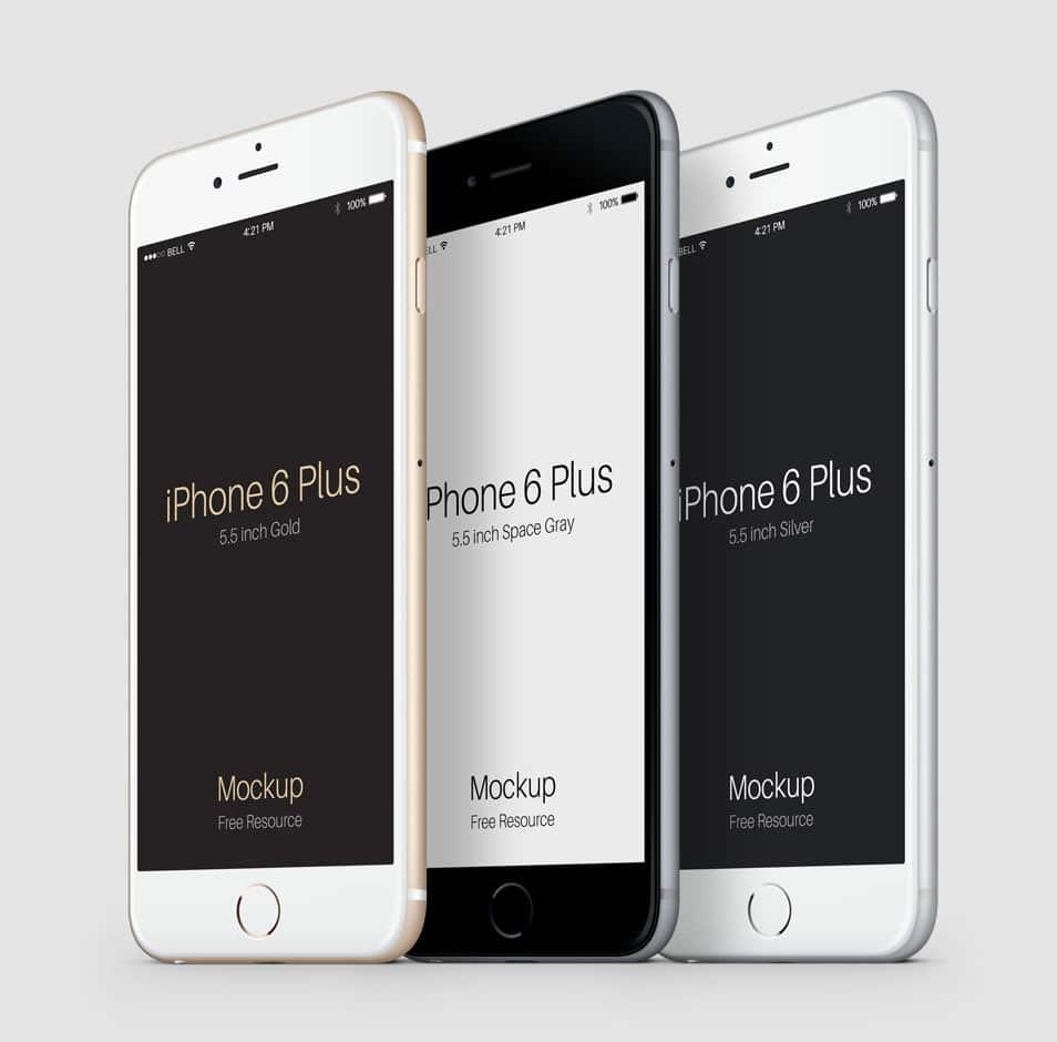 3-4 iPhone 6 Plus Psd Vector Mockup 2