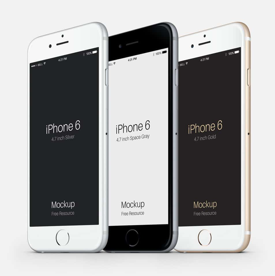 3-4 iPhone 6 Psd Vector Mockup Part 2