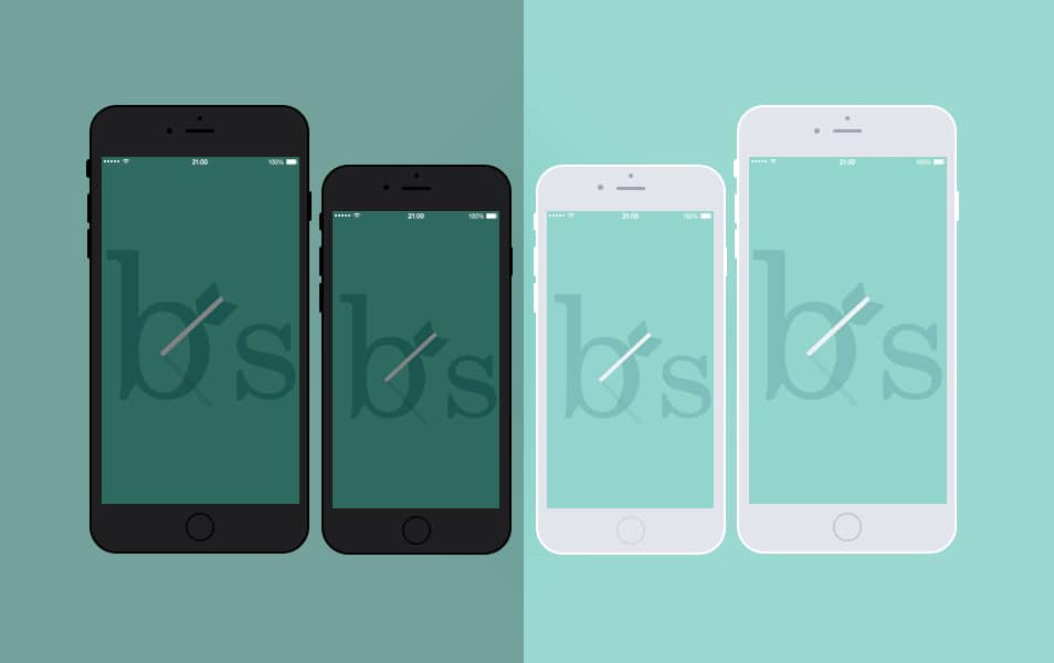 Apple iPhone 6 and 6 Plus Black & White Mock Up