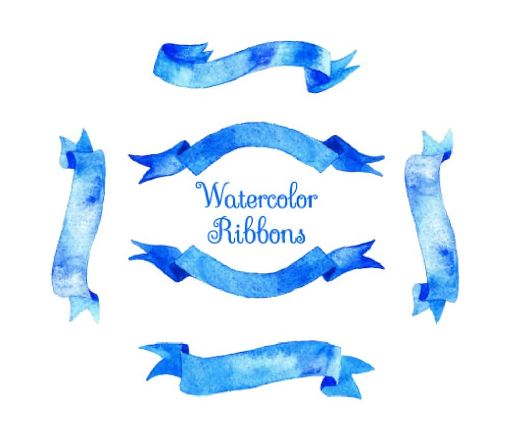 Blue watercolor ribbons