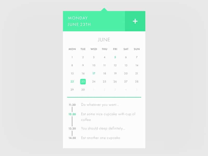 Calendar UI PSD