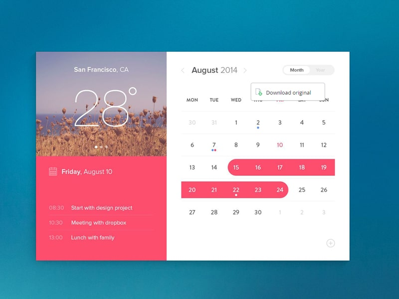 Calendar Layout Css : Latest free web elements from august css author
