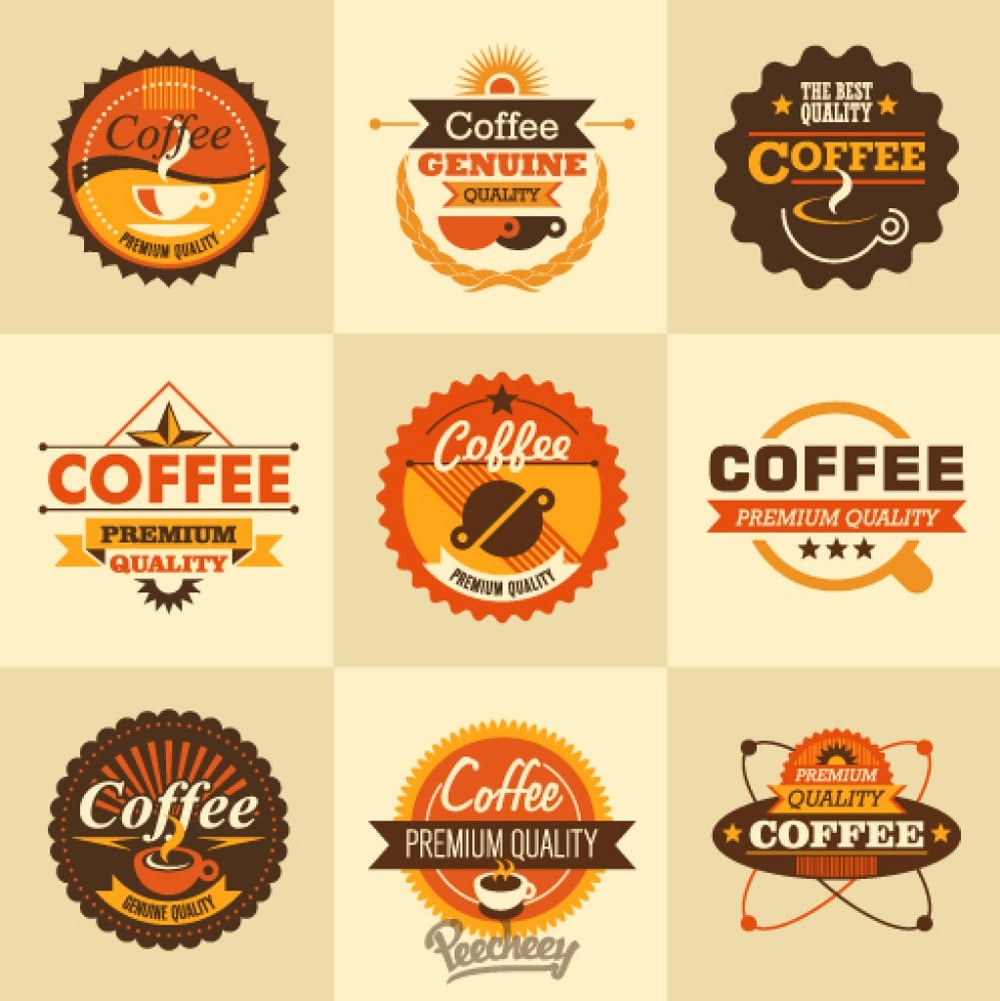 Coffee retro stickers
