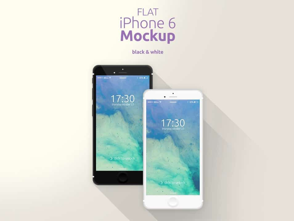 Flat iPhone 6 Mockup [Black & White]