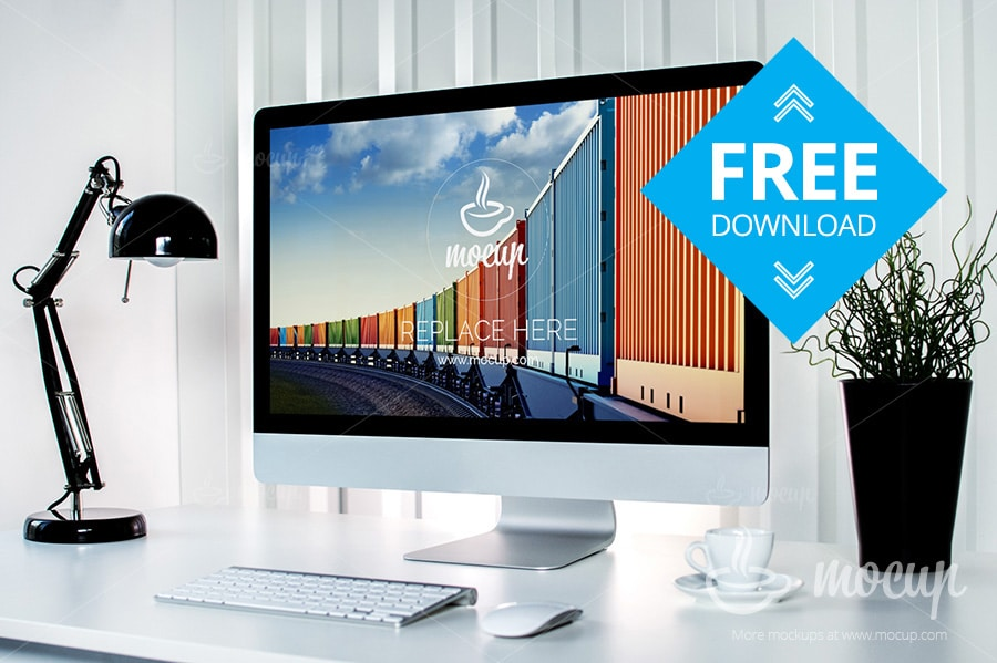 Free Container 5K iMac Mockup PSD