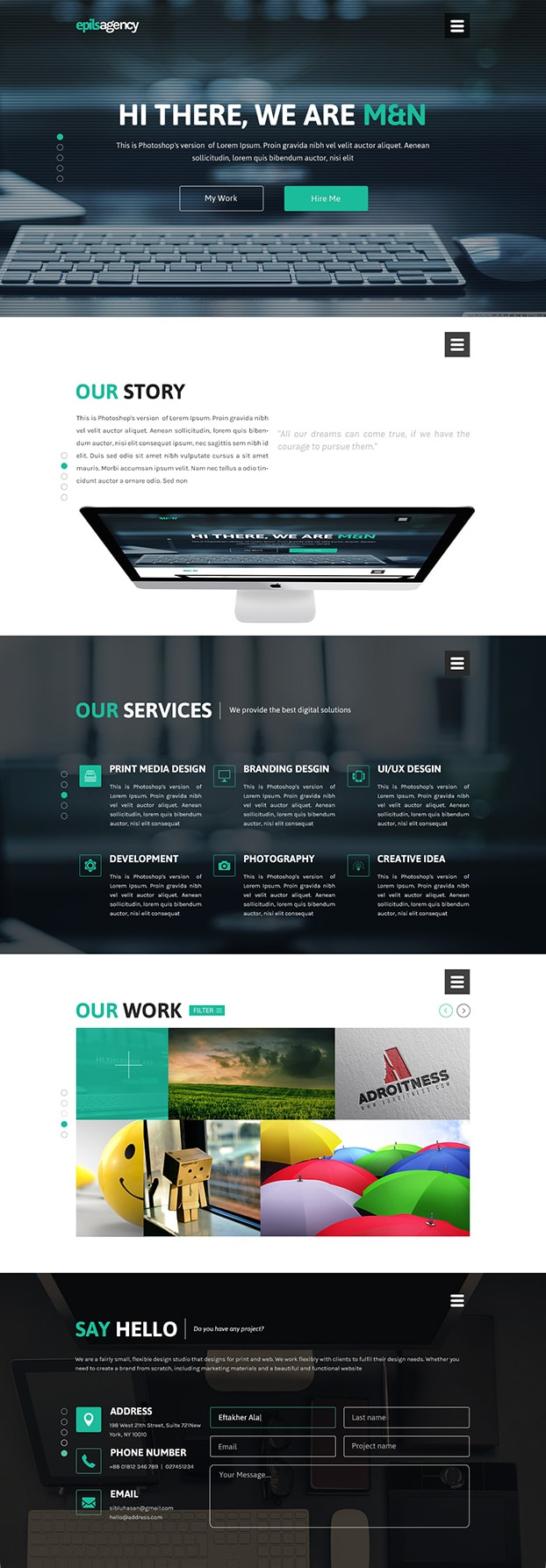 Free Creative Agency Web Design PSD