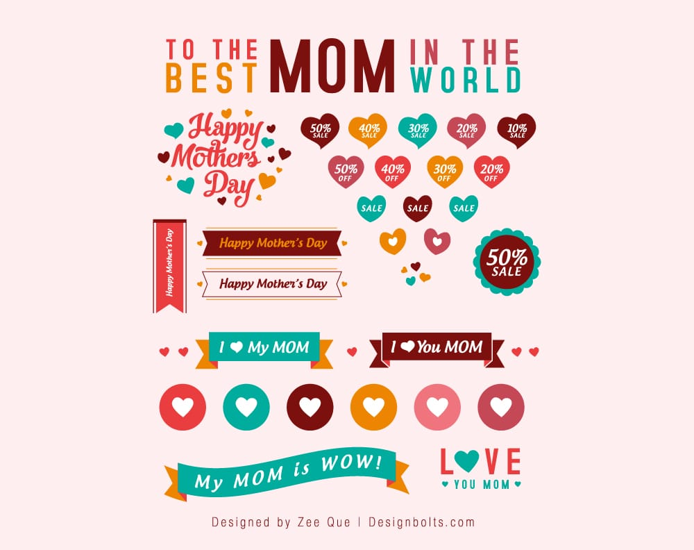 Free Cute Mother's Day Sale Vectors, Icons & Banners
